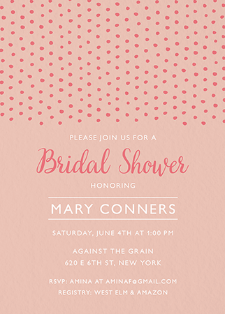 Pink Dot Bridal Shower Invite