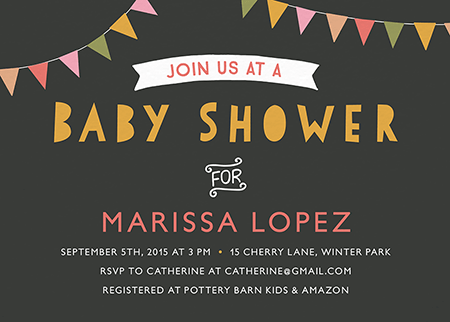 fun banner baby shower invite