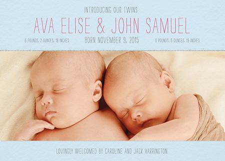 Thin Type Custom Photo Twin Birth Announcement