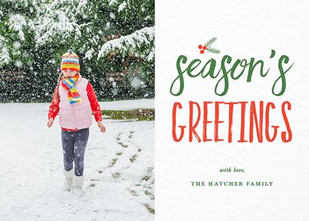 Seasons Greetings Brush Holiday Card