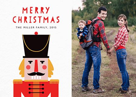 Painted Nutcracker Photo Christmas Card
