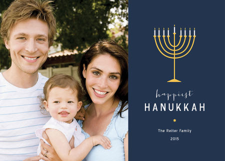 simple blue photo hanukkah card
