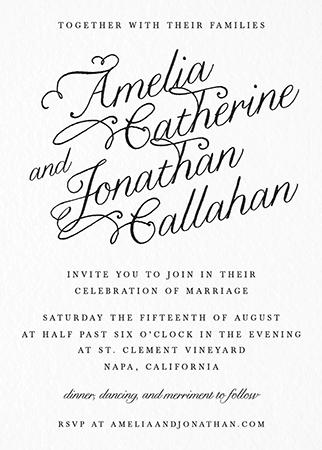 Slanted Calligraphy Wedding Invitation