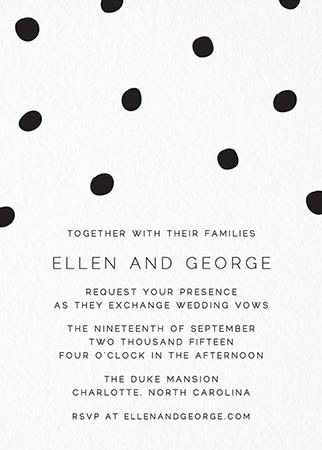 Black Dots Wedding Invitation