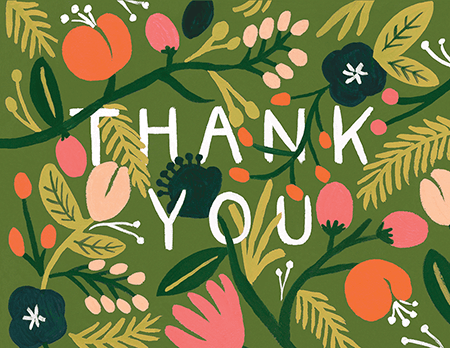 beautiful jungle wedding thank you card