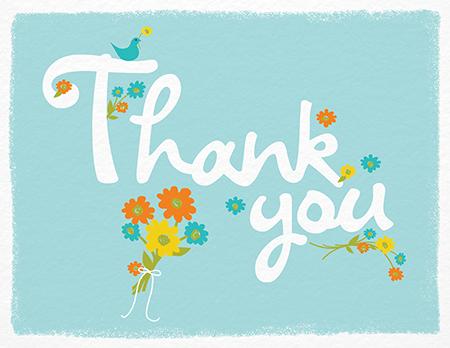 floral thank you card on aqua
