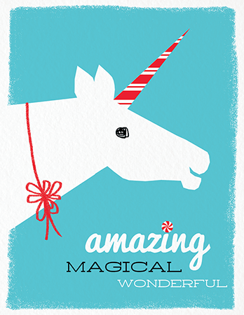 Retro Unicorn Holiday Card