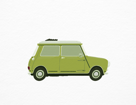 Vintage Car Lime Green