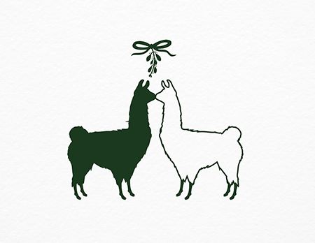 Mistletoe Llamas Holiday Card