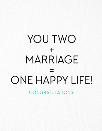 One Happy Life Wedding Congratulations Card