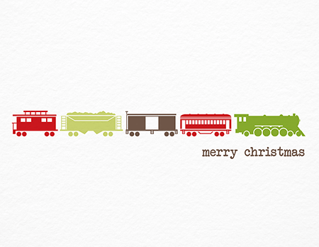 Charming Toy Train Christmas Card