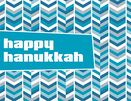 Retro Blue Chevron Hanukkah Card