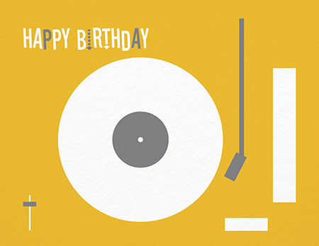 Yellow Turntable Birthday Card