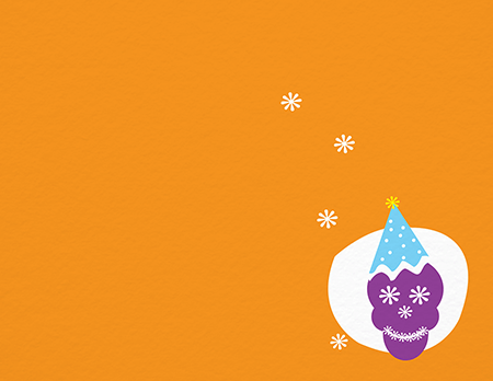 Orange Skull Party Hat Greeting Card