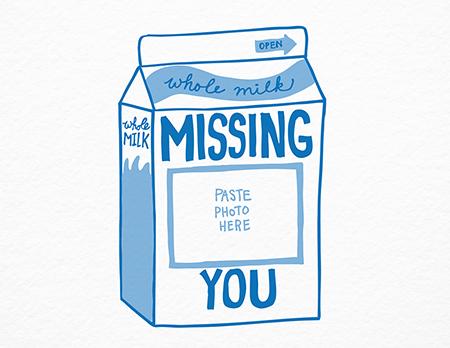 Milk Carton Missing You Card