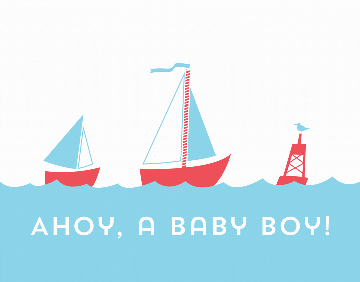 Nautical Welcome Baby Card