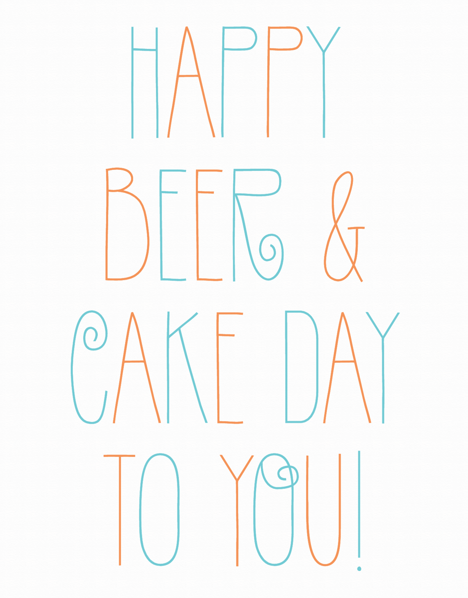 Beer and Cake Birthday Card