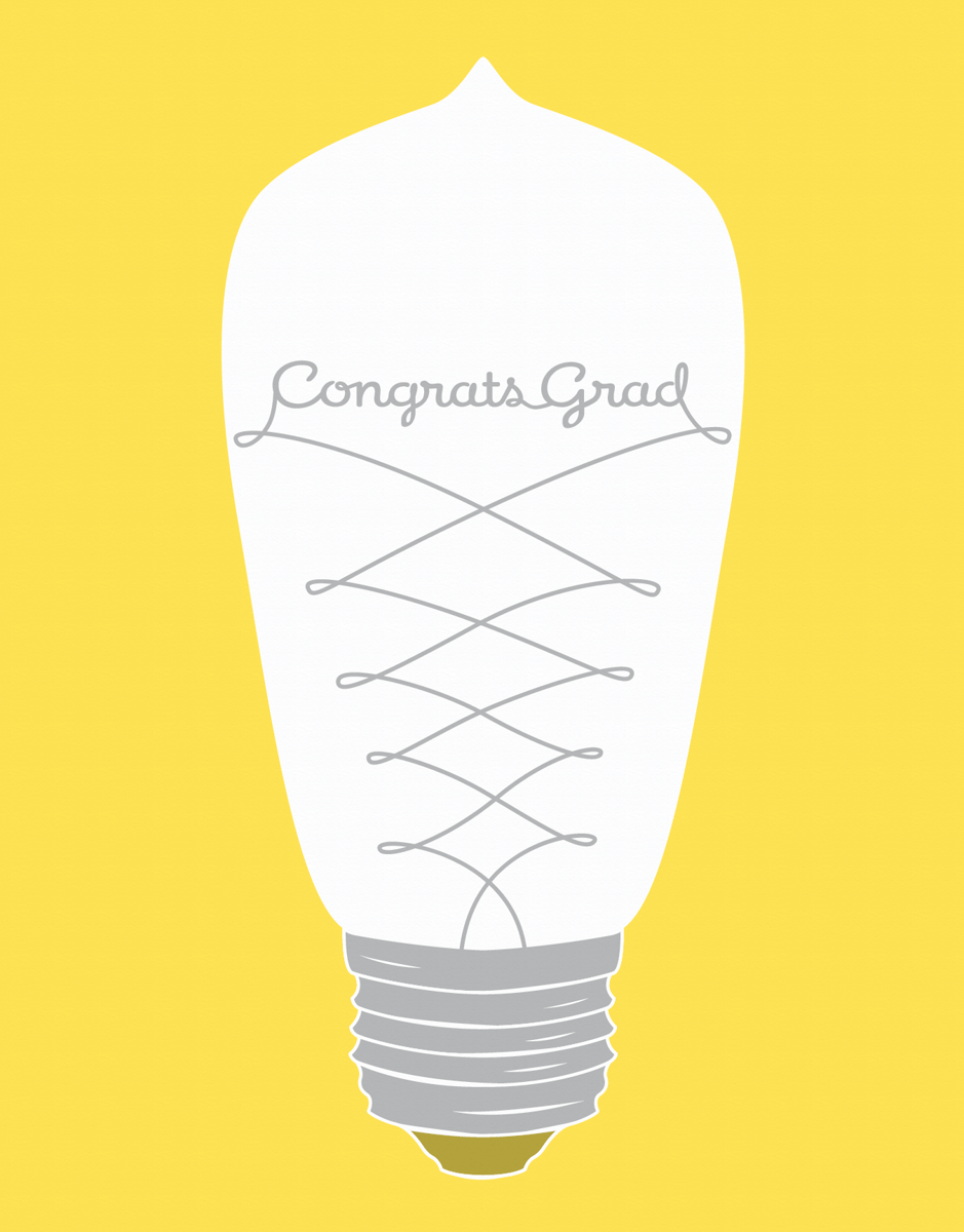 Light Bulb Script Graduation Congrats Card