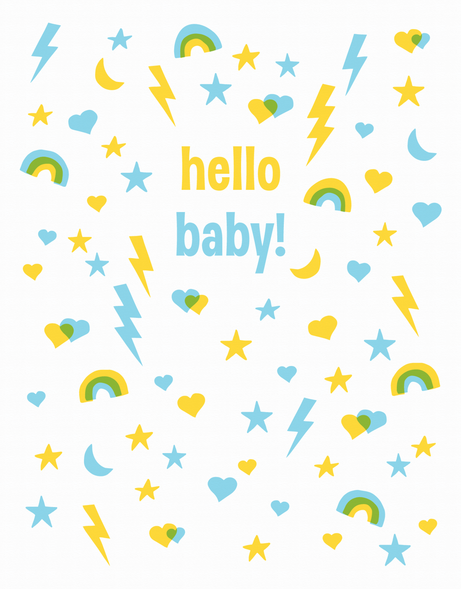 Rainbows and Stars Welcome Blue Baby Card