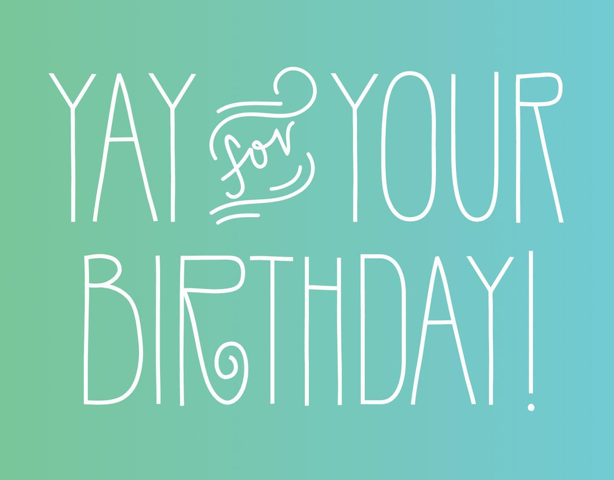Simple Flourish Yay Birthday Card