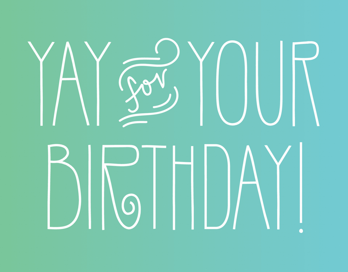Simple Flourish Yay Birthday Card