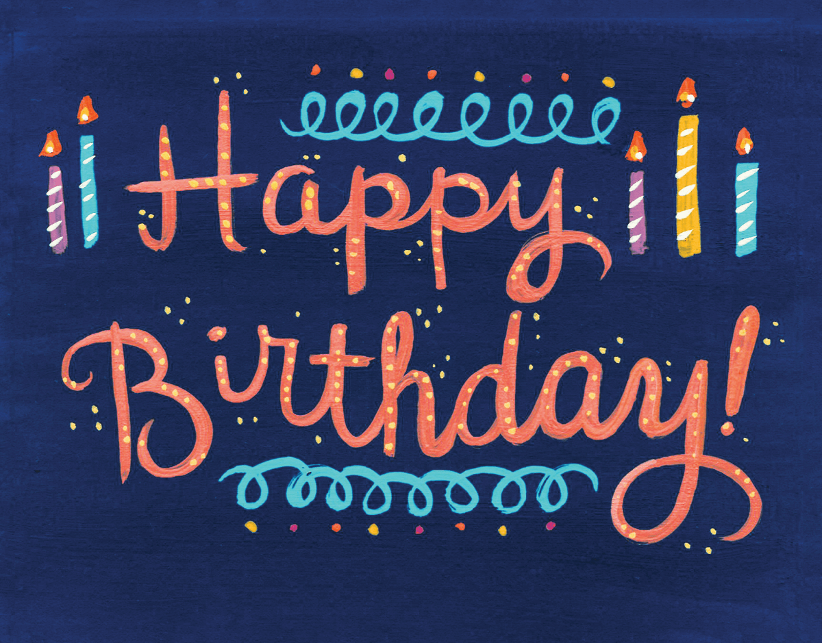 Hand Lettering Happy Birthday Candles Card