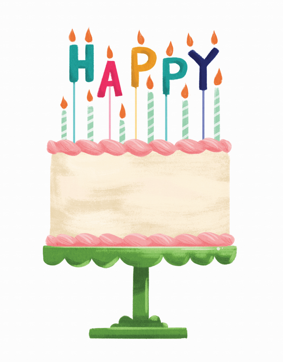 Charming Happy Birthday Cake Card