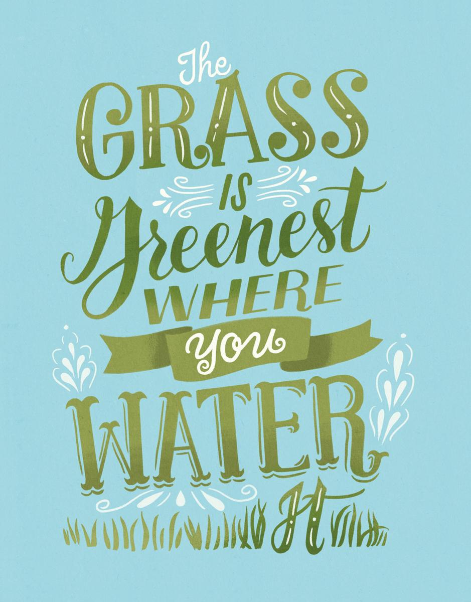 Modern Encouragement Grass Is Greenist Card