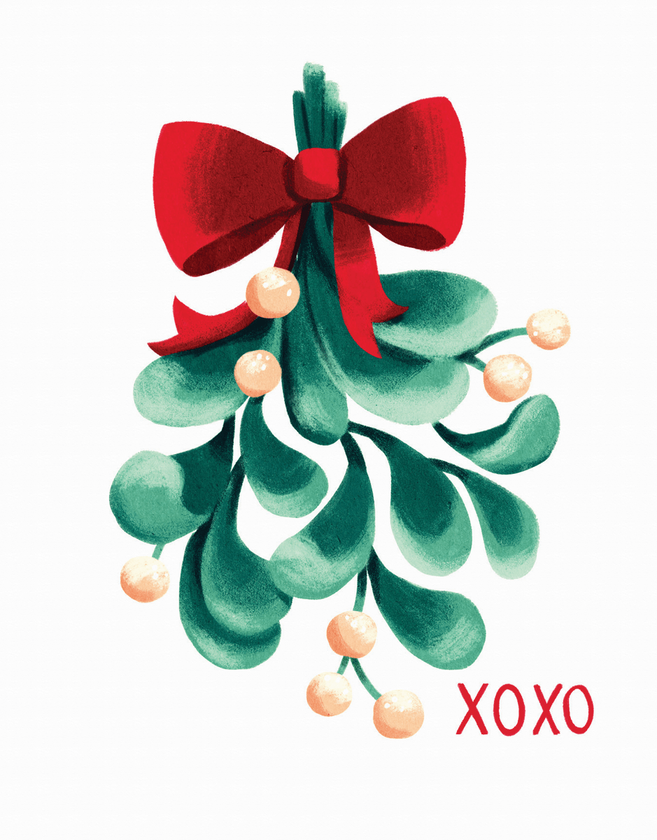 beautiful mistletoe holiday card