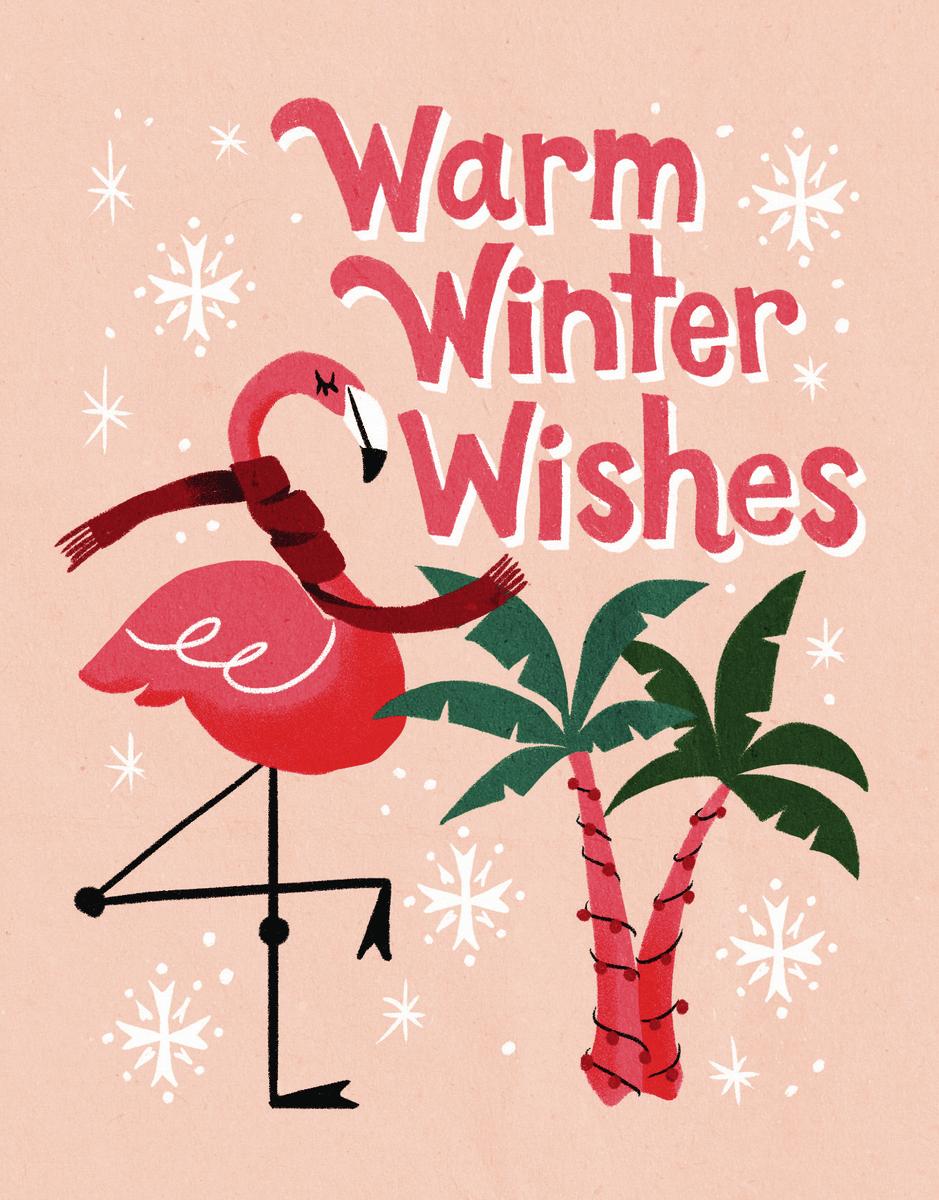 Flamingo Winter Wishes