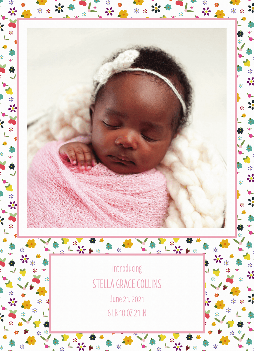 Little Flowers Birth Announcement