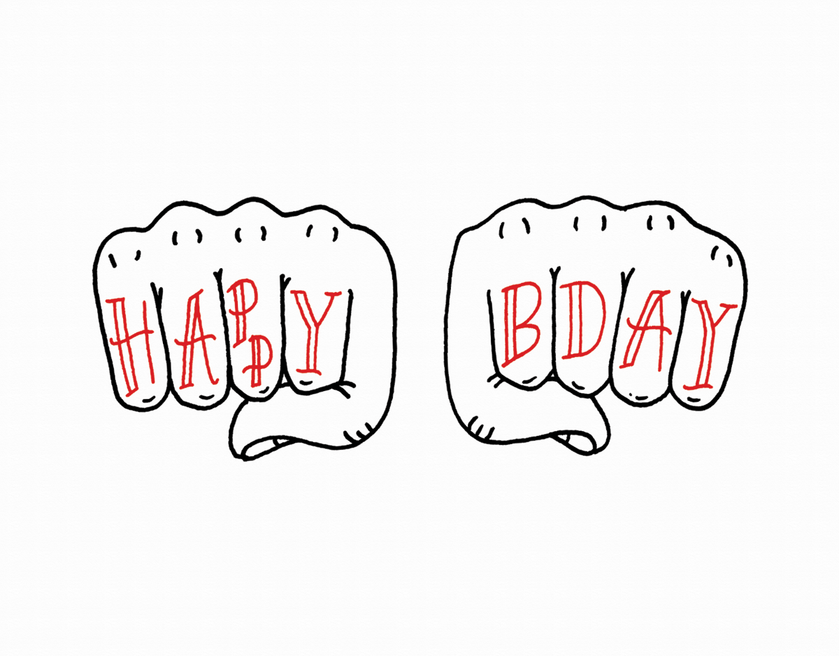 Illustrated Knuckles Birthday Card