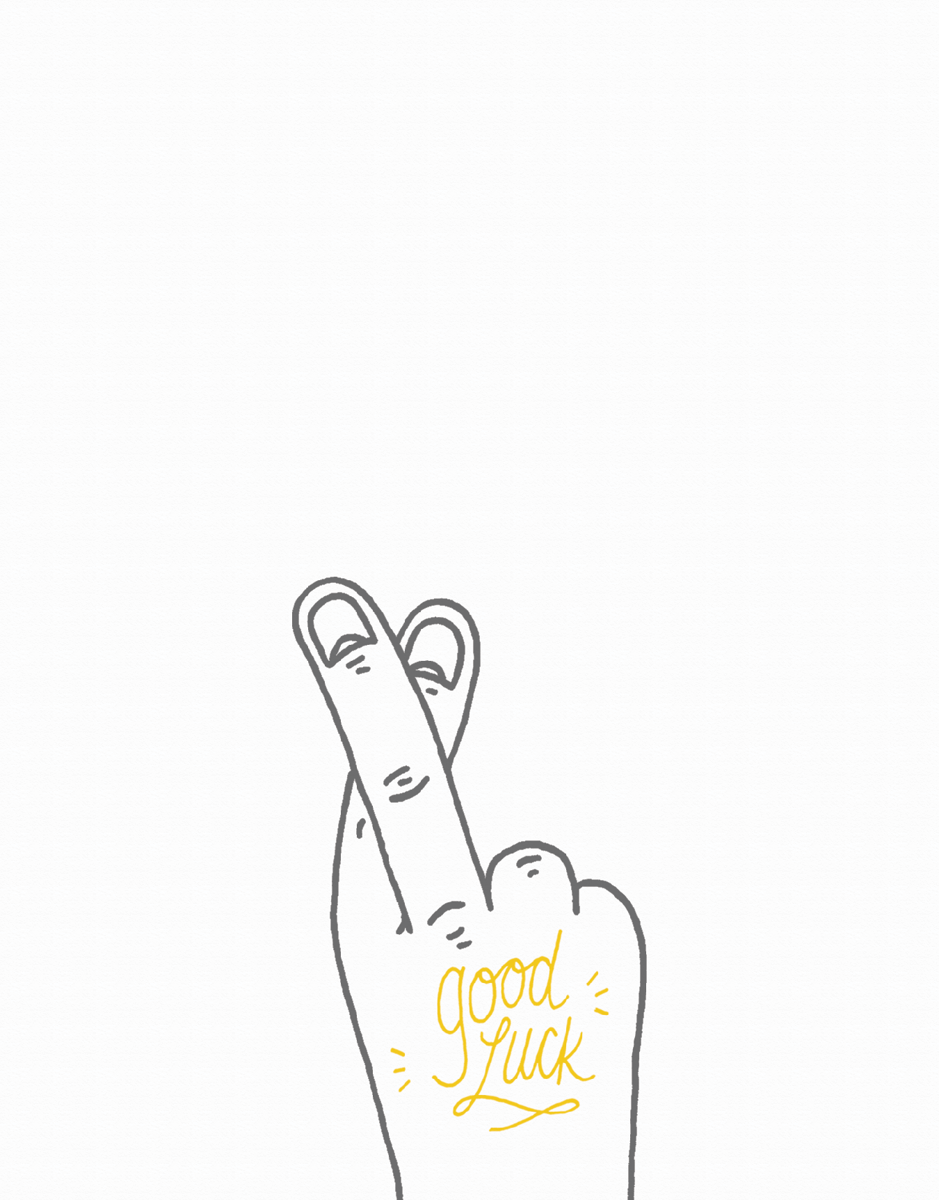 Fingers Crosses Drawing Good Luck Card
