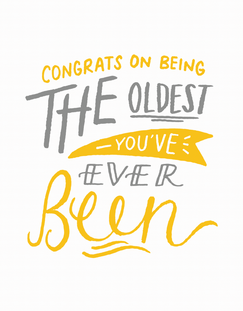 Funny Hand Lettered Birthday Card
