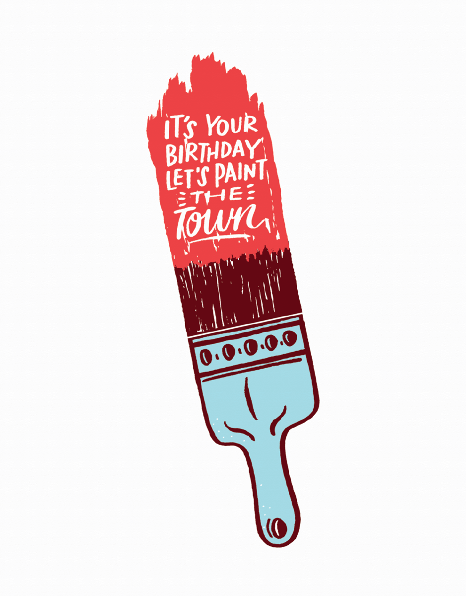 Charming Painted Birthday Card