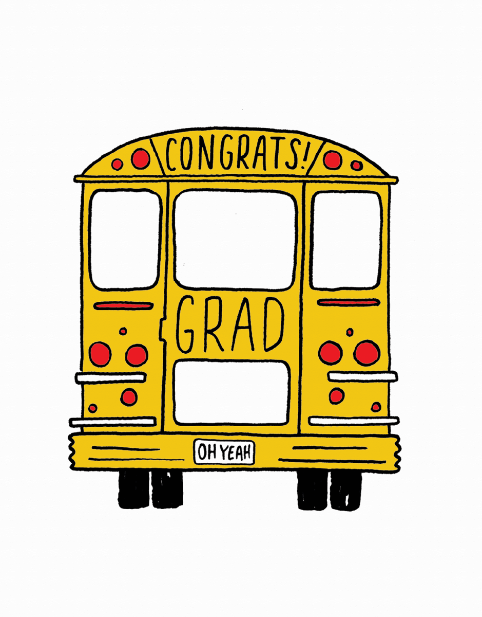 Charming School Bus Graduation Congrats Card