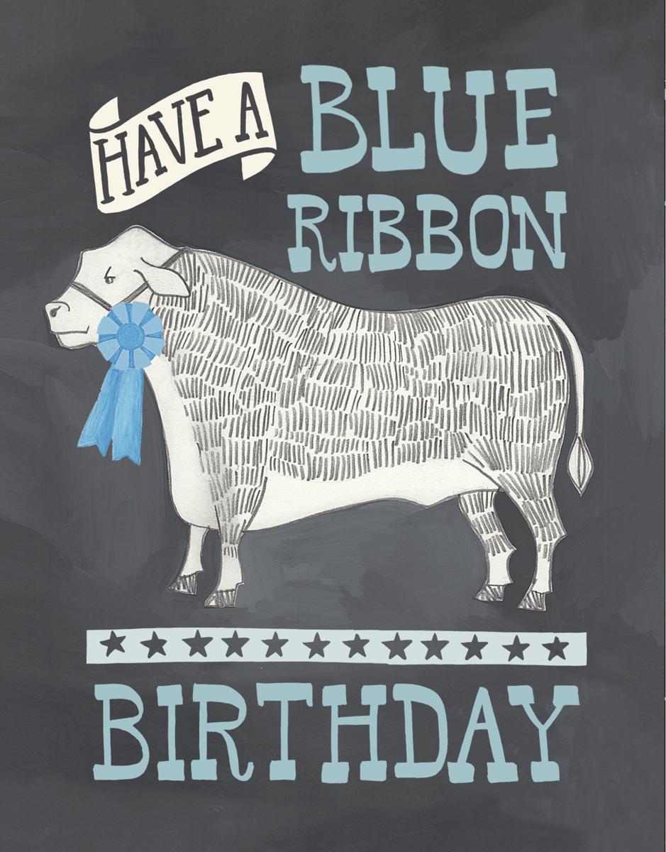 Blue Ribbon County Fair Birthday Card