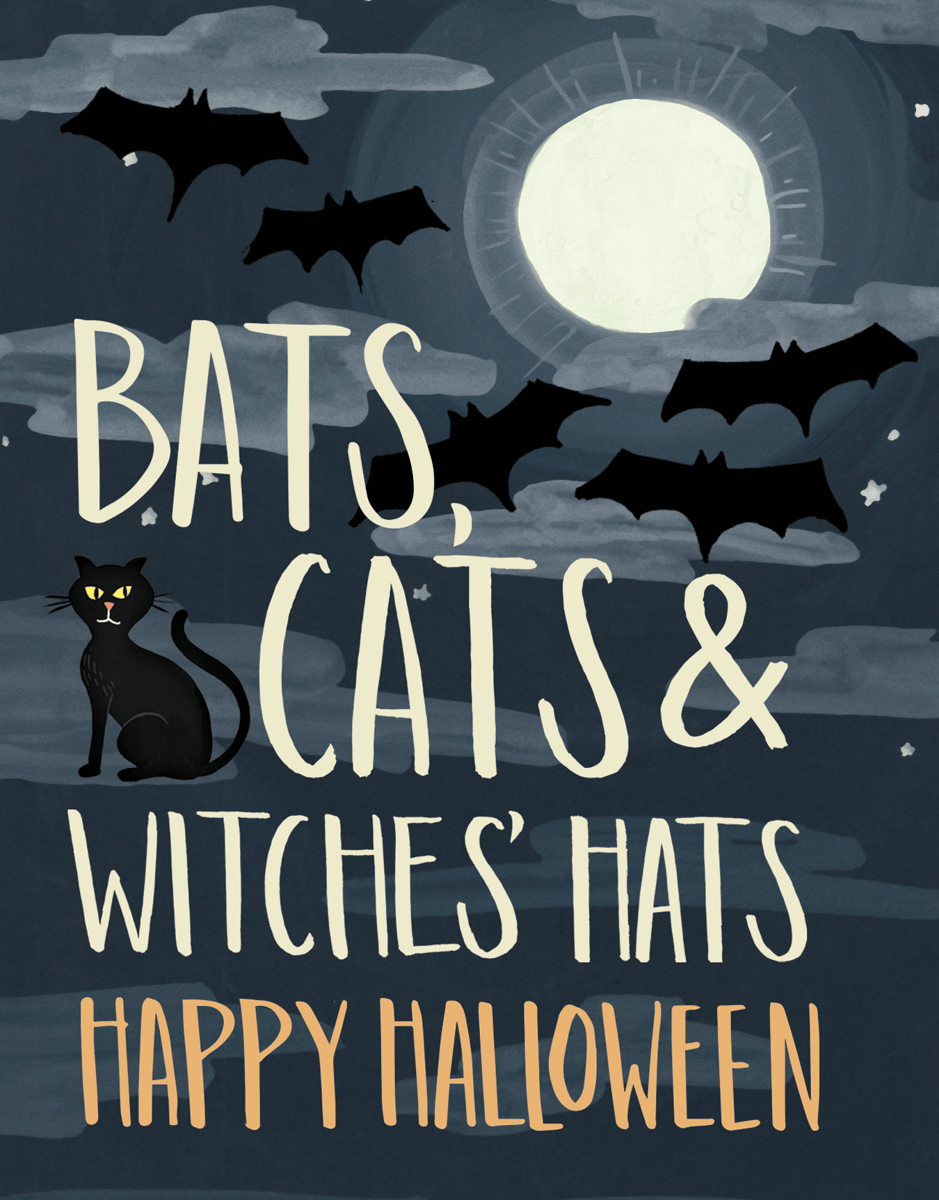 Bats and Cats Halloween Card
