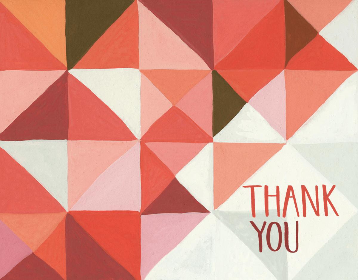 Red Triangular Thank You Card
