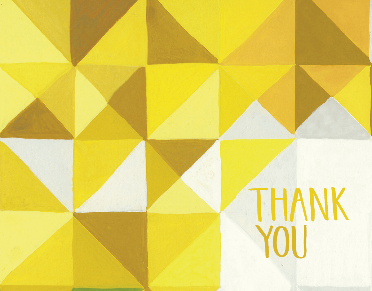 Geometric Yellow Thank You Note