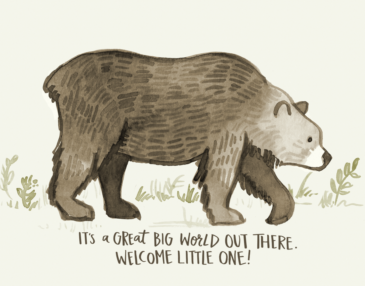 Painted Bear Welcome Baby Card