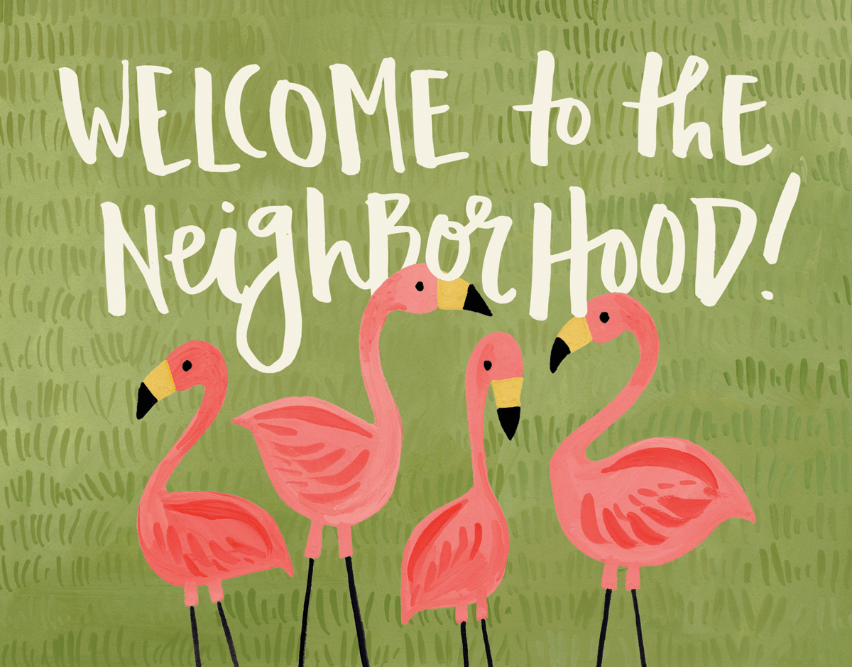Pink Flamingos Vintage Welcome Card