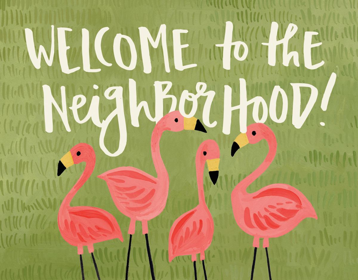 Pink Flamingos Vintage Welcome Card