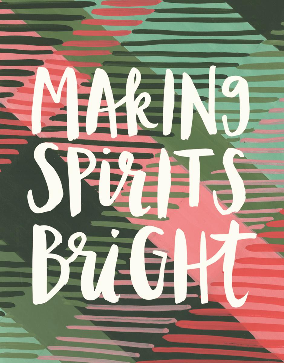 Striped Making Spirits Bright Holiday Card