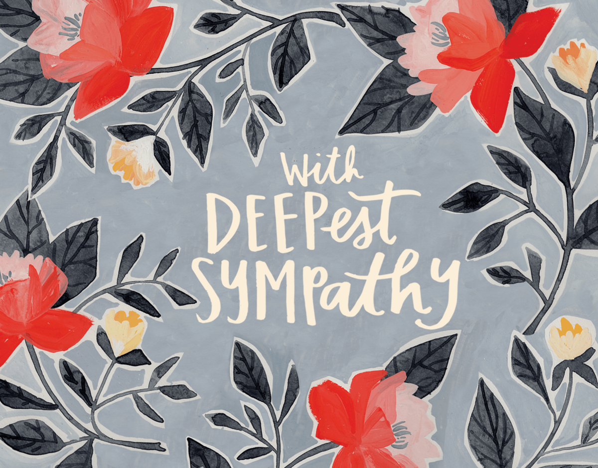 Painted Floral Deepest Sympathy Card