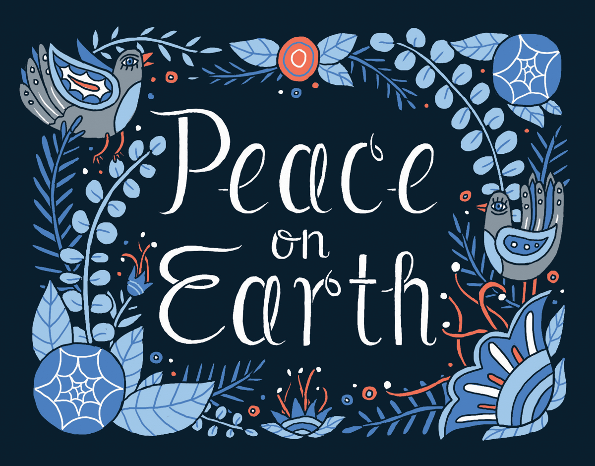 beautiful blue peace on earth greeting card