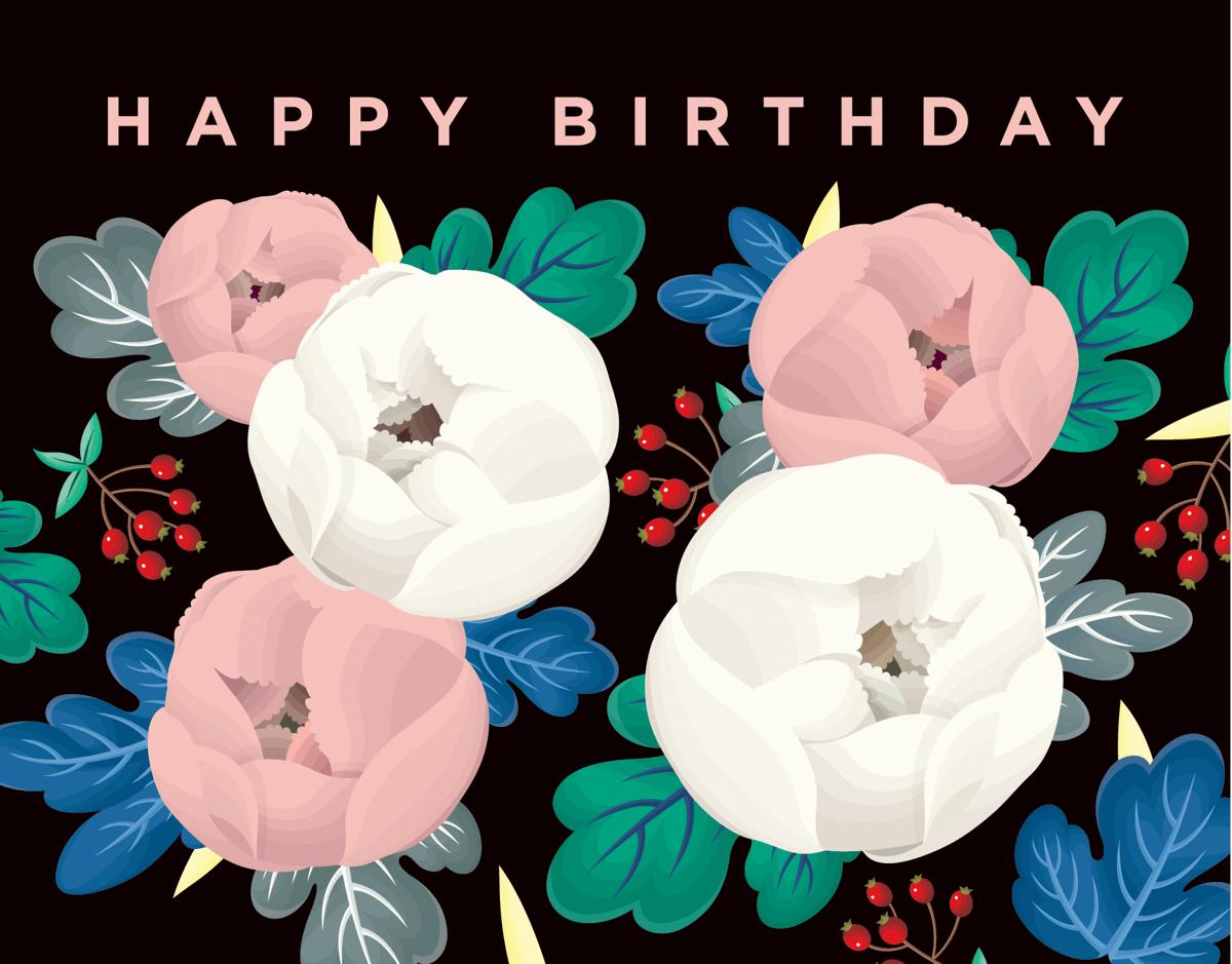Black Floral Happy Birthday Card