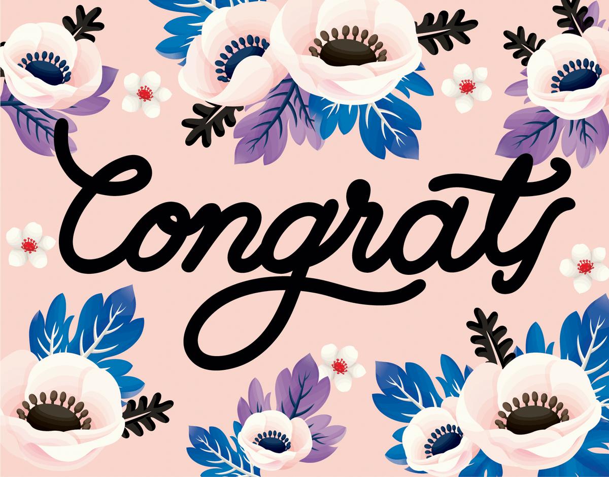 Floral Anemone Congrats Card