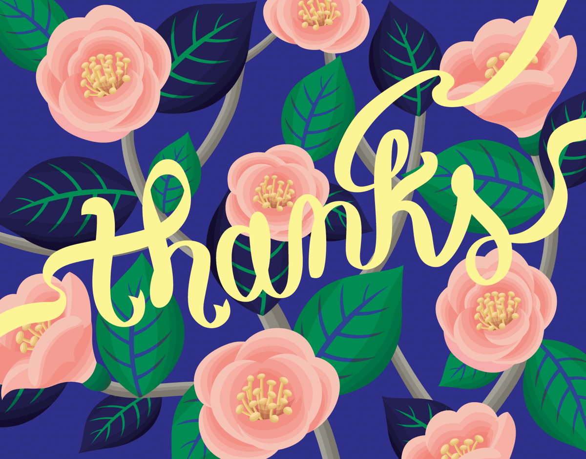 Blue Camelia Thank You Card