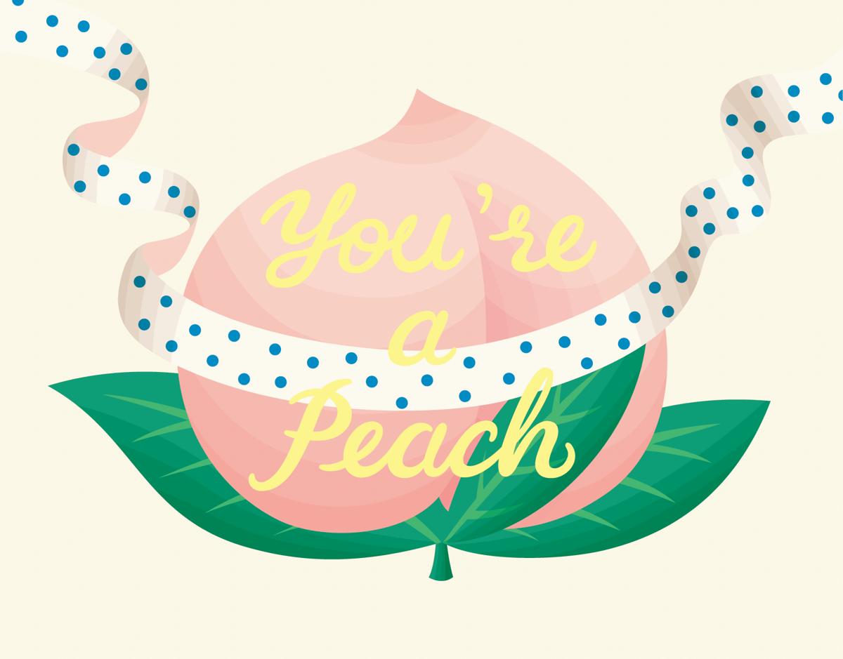 Cute Peach Love Card